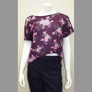 Sheer Purple & Pink Lace Floral Crop Top - Hi-Low